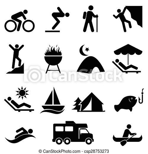ontspanning, buiten, vrije tijd, iconen - csp28753273