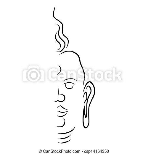 ontwerp, hand, boeddha, tekening, element. gezicht, element, ontwerp