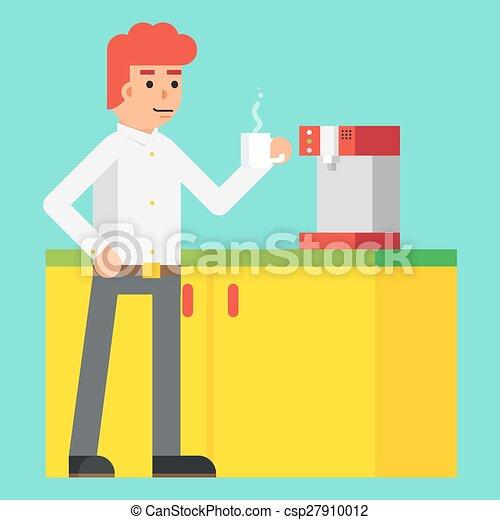 ontwerp, machine, vrolijk, vector, karakter, het stimuleren, morgen, achtergrond, drank, pictogram, mal, koffie, modieus, mannelijke , plat, illustratie - csp27910012
