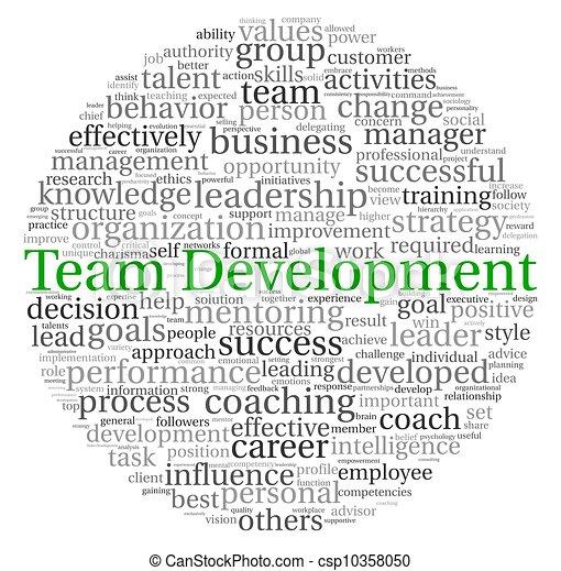 ontwikkeling, concept, woord, label, team, wolk - csp10358050