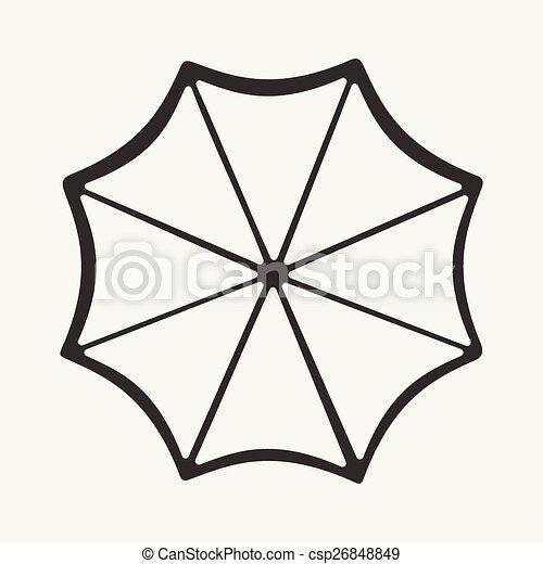 Plano en blanco y negro aplicación móvil un paraguas - csp26848849