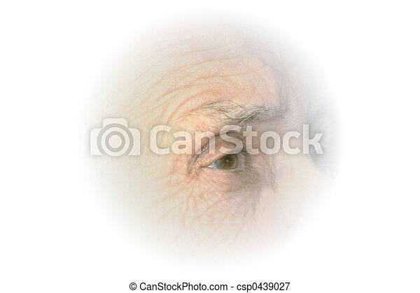 oog, bejaarden, vignet - csp0439027