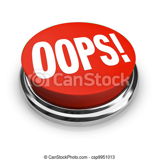 Oops Word on Big Red Button Correct Mistake - csp9951013
