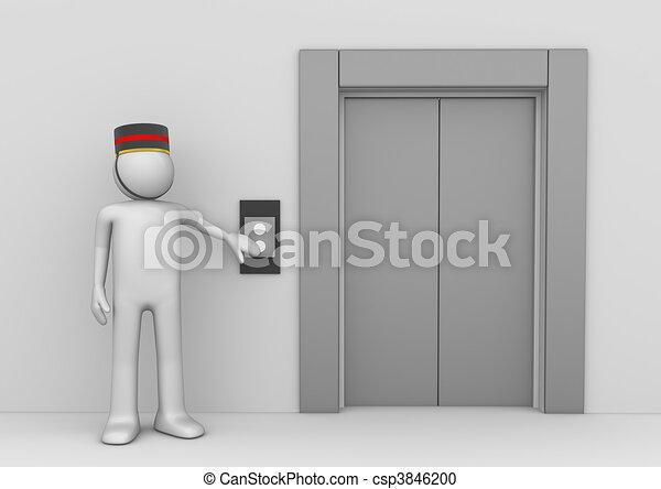 Op rateur ouvriers ascenseur collection caract res s rie isol fond blanc 3d - Operateur de porte d ascenseur ...