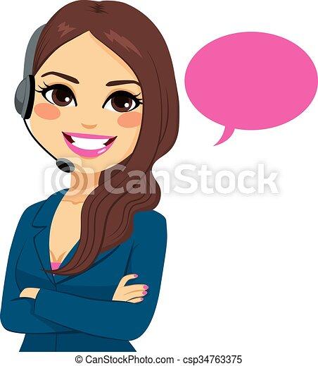 opérateur, téléphoner femme, téléopérateur - csp34763375