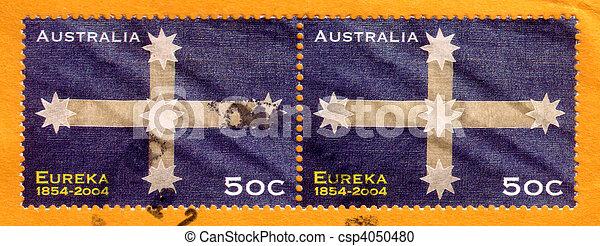opłata pocztowa, australia, 2004, tłoczyć, uprising, -, eureka, :, palisada, odwołany, australijski, circa, 1854, opisywanie, historia - csp4050480