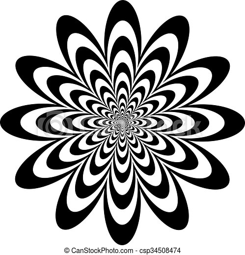 Op Art Flower In Black And White Floral Optical Illusion Design In