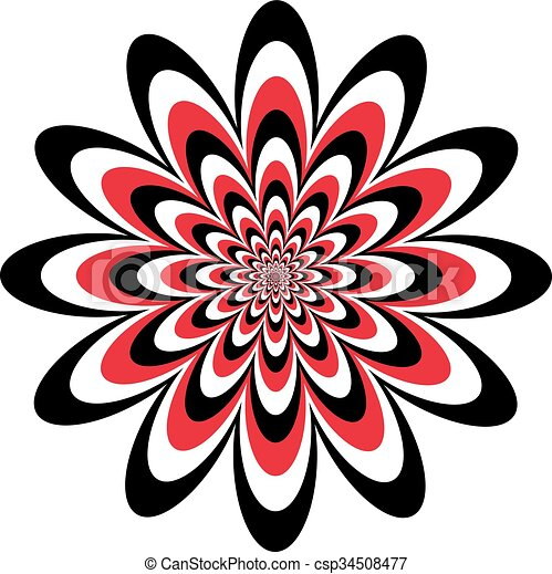 Op Art Flower In Red Black White Floral Optical Illusion Design In