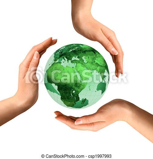 op, globe, recycling, conceptueel, aarde, symbool - csp1997993