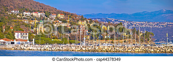Opatija marina in Icici panoramic view - csp44378349