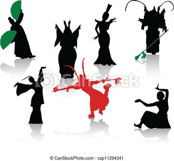 ope, シルエット, dancers., 中国語 - csp11294341