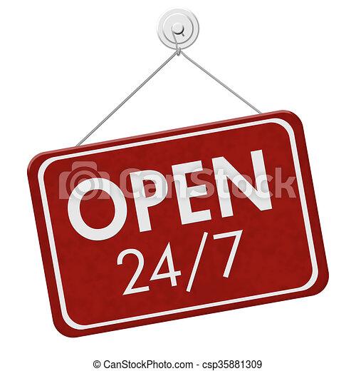 Open 24 / 7 Sign - csp35881309