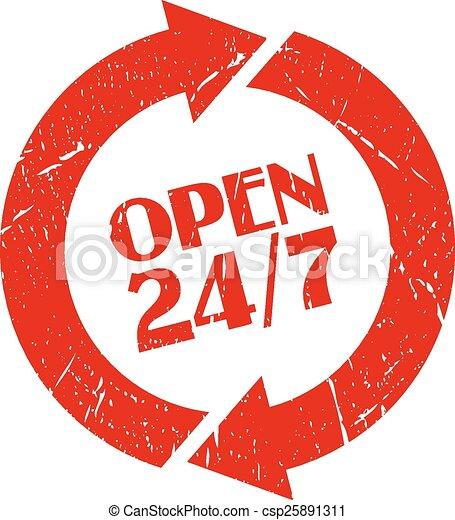 Open 24 hour stamp - csp25891311