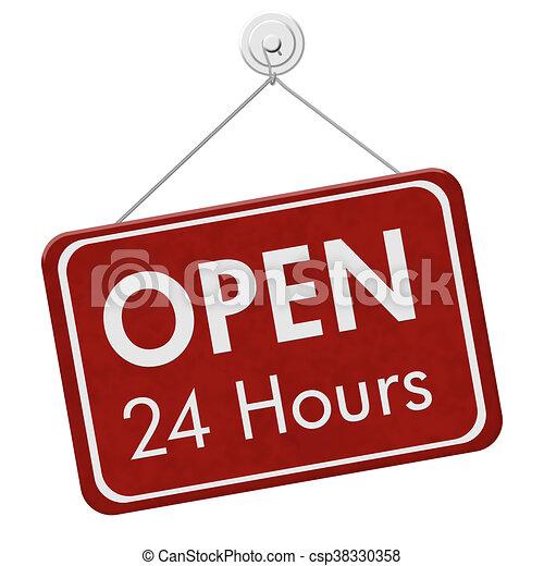 Open 24 Hours Sign - csp38330358