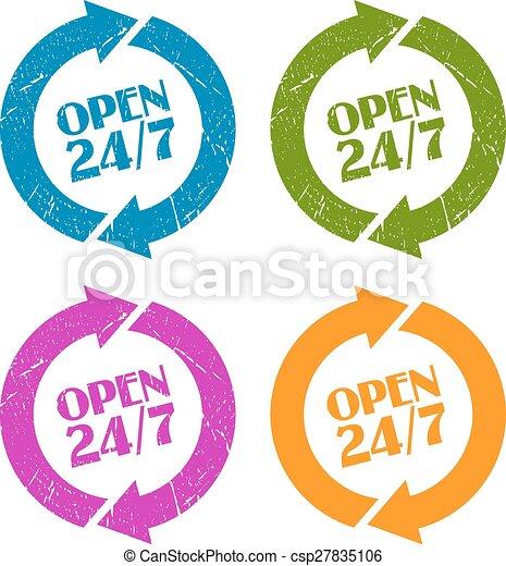 Open 24 stamp - csp27835106