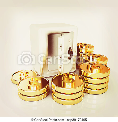 open a bank vault with a bunch of gold coins  isolated on white    3D  illustration  Vintage style