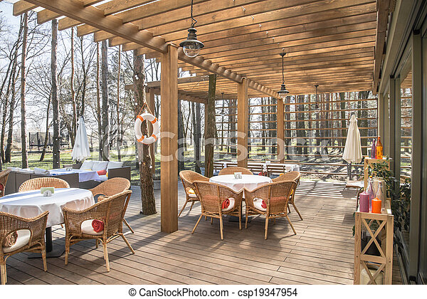 Open Air Restaurant And Wood Terrasse At The Forest