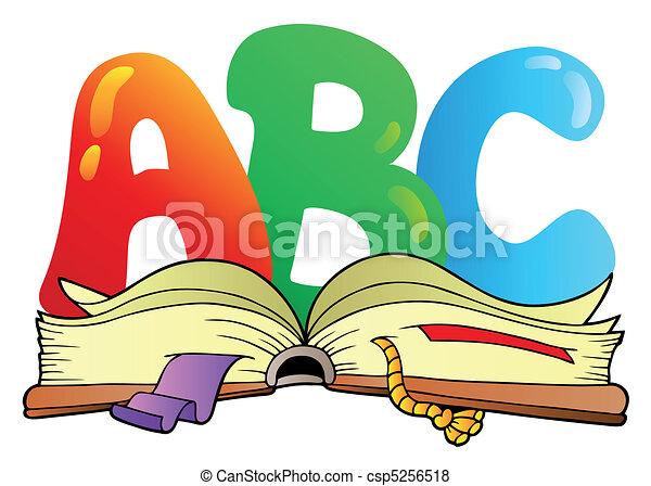open, alfabet, brieven, boek, spotprent - csp5256518