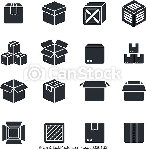 Open and closed box black silhouette icons isolated  Package vector symbols