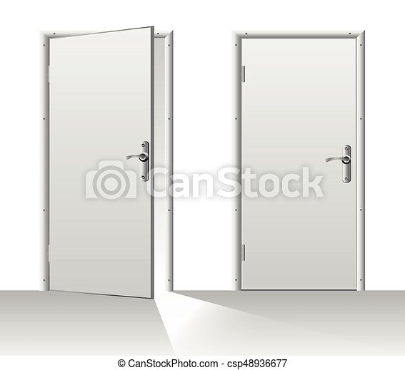 closed door clipart. Open And Closed Door - Csp48936677 Clipart
