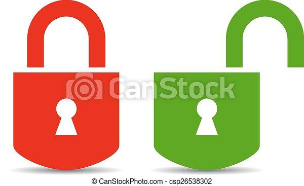 Open and closed padlock - csp26538302