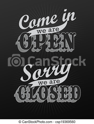 open and closed vintage retro signs can be used for invitation