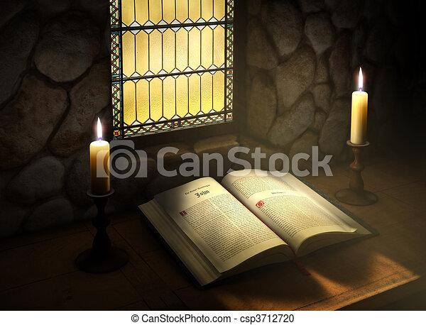 Open Bible in Sunlight - csp3712720