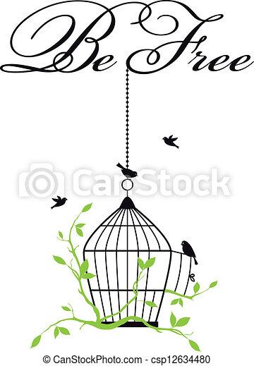 open birdcage with free birds - csp12634480