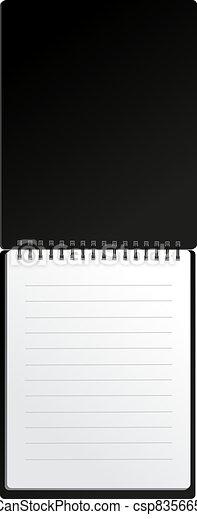 Open black notebook in lines - csp83566549