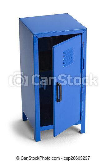 Open blue locker. Blue metal locker open isolated on white ... Blue Locker on blue tools, blue printers, blue screens, blue folders, blue first aid, blue pallets, blue benches, blue containers, blue files, blue floors, blue bar, blue linen, blue mailboxes, blue signs, blue boxes, blue scales, blue library, blue cupboards, blue zebra, blue locks,