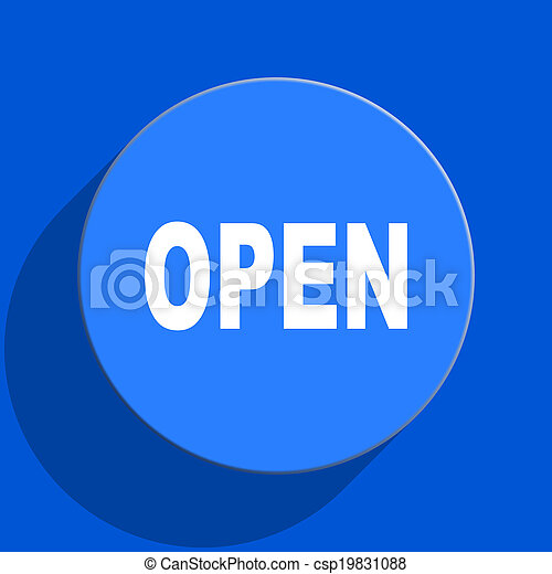 open blue web flat icon - csp19831088