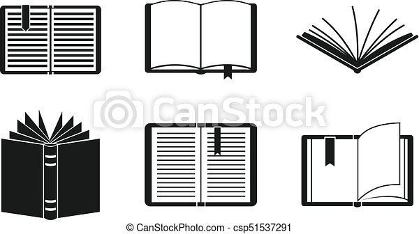 Simple Line Art Designs : Open book icon set simple style. set. eps