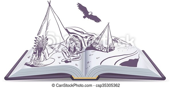 Open Book Line Drawing Open book. indi...