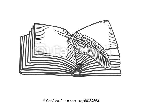 Open Book Art Drawing