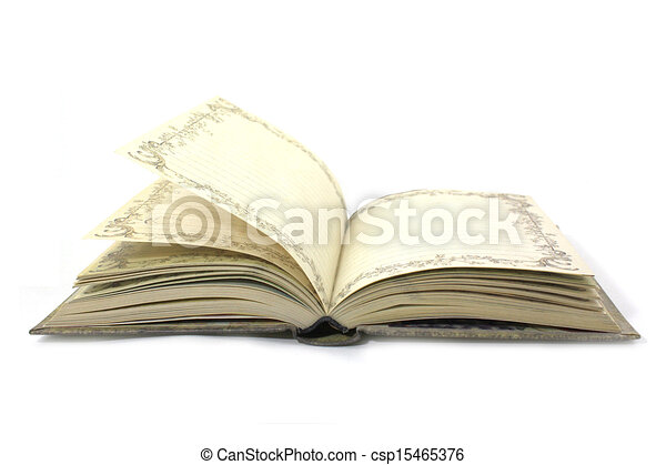 Open book isolated on white background - csp15465376