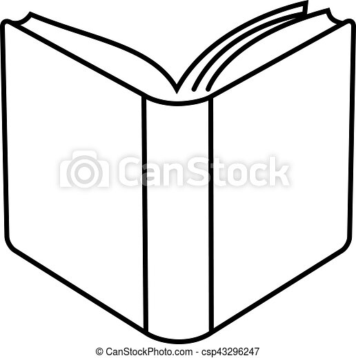 Open book linear illustration. Open hard cover book ...