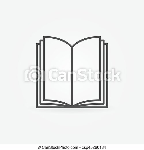 Open Book Thin Line Icon