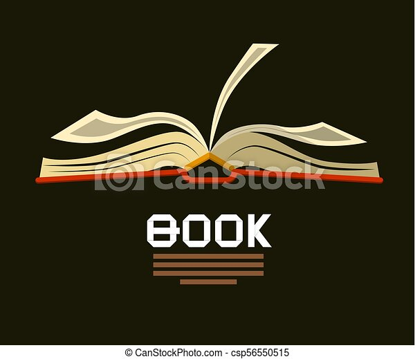 Open Book . Vector Logo. Flat Design Bookstore Symbol. - csp56550515