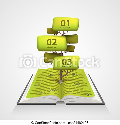 Open book with a tree numbering - csp31482128