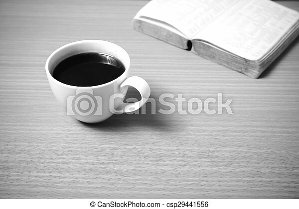 open book with coffee black and white color tone style - csp29441556