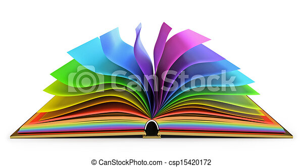 Open book with colorful pages - csp15420172