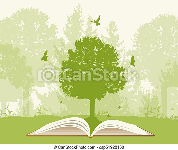 Open book with green tree - csp51928150