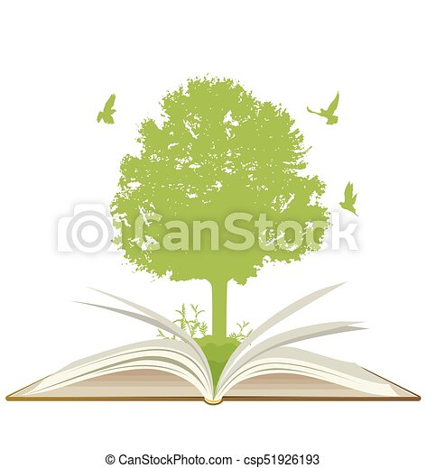 Open book with green tree - csp51926193
