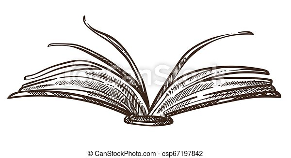 Open Book with pages and paper monochrome sketch