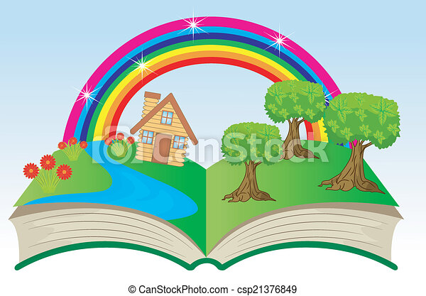 open book with summer landscape - csp21376849