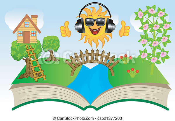 open book with summer landscape - csp21377203