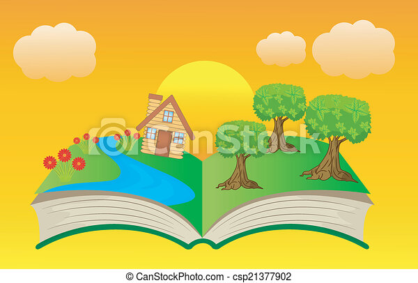 open book with summer landscape - csp21377902