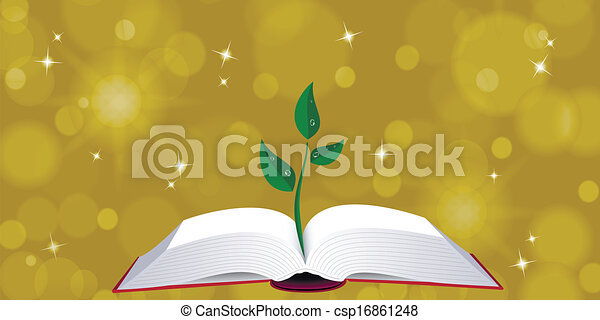 Open book with tree sprout - csp16861248