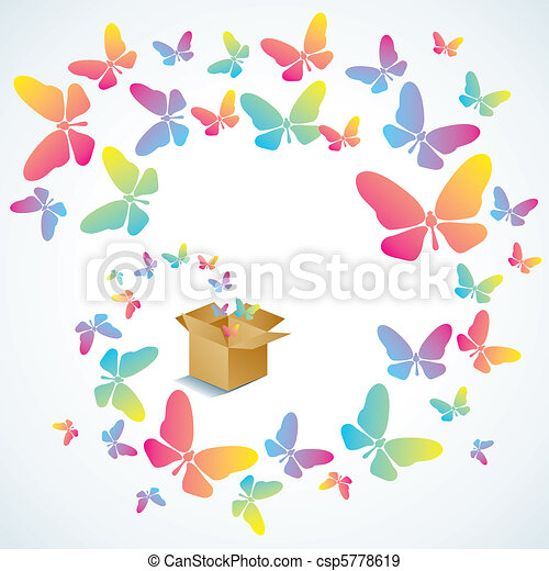 Open box and the butterfly - csp5778619