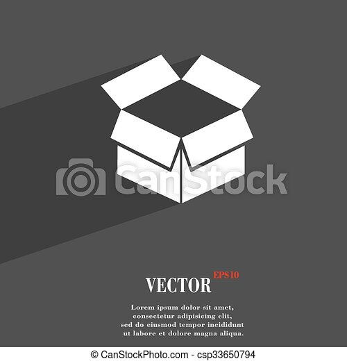 Open Box Symbol Flat Modern Web Design With Long Shadow And Space